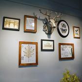 北歐招財鹿頭小相框掛墻組合美式實木餐廳墻上照片墻裝飾墻面懸掛jy【完美男神】
