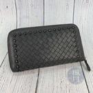 BRAND楓月 Bottega Veneta BV 灰色 鉚釘裝飾 皮革編織 拉鍊長夾 皮夾 錢夾 錢包