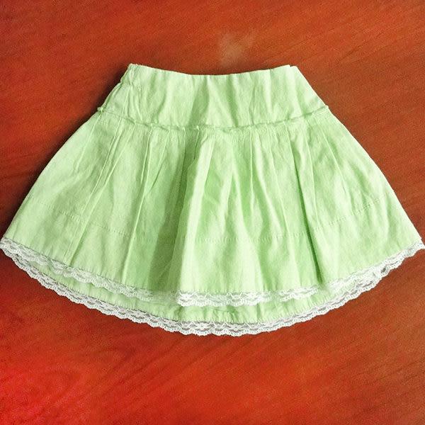 亞麻短裙 歐單place優質純棉內裡 綠色裙 80 90 100
