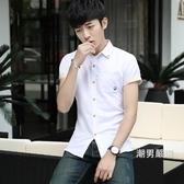 夏季厚款男士短袖襯衫正韓修身青少年學生插領休閒印花白色襯衣潮S-2XL