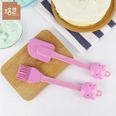 烘培工具耐高溫矽膠蛋糕分段式刮刀油刷面包餅干攪拌奶油抹刀 (粉色套裝) (購潮8)