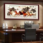 壁畫 馬到成功字畫八駿圖掛畫辦公室裝飾畫現代中式客廳沙發背景墻壁畫