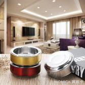 煙灰缸 圓形防摔不銹鋼煙灰缸創意個性加厚煙盅12CM酒吧 莫妮卡小屋