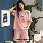 家居服睡衣女夏天純棉短袖女士夏季薄款兩件套裝【大碼百分百】