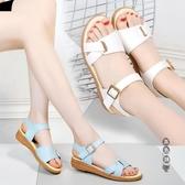 2020新款舒適平底涼鞋女夏學生外穿牛筋底防滑軟底孕婦鞋41大碼42 OO11242『黑色妹妹』