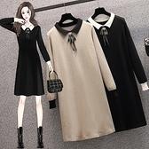 洋裝打底裙針織裙中大尺碼L-4XL新款大碼連身裙遮肉減齡寬鬆百搭裙R06B-5258.胖胖唯依