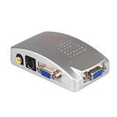 VGA 轉AV 轉換器電腦接電視S 端子接口視頻轉換盒電腦轉電視PC 轉TV 連接器~七七