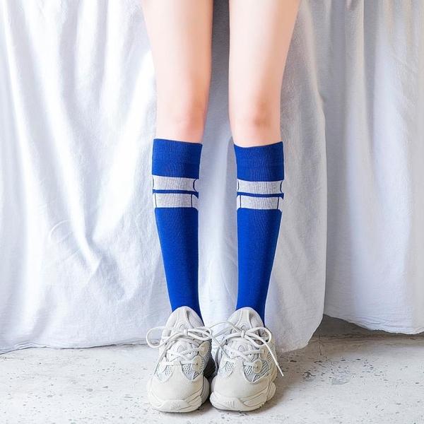 潮ins長襪子女韓國日系小腿襪及膝襪藍色長筒襪半截襪jk夏季薄款