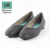 【ORiental TRaffic】舒適V口方頭平底鞋-率性黑