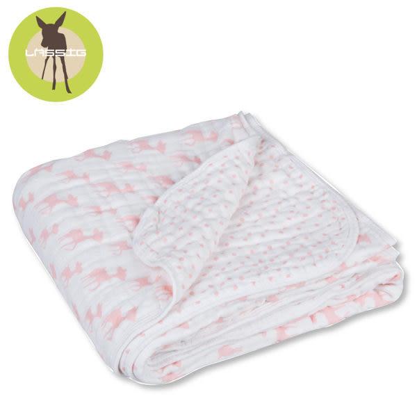 德國Lassig-水洗四層紗多功能毯-粉紅小鹿