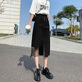 半身裙 黑色開叉牛仔半身裙女夏2021新款高腰中長款不規則包臀a字網紗裙【快速出貨】