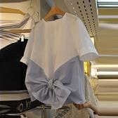 2021夏裝新款韓版女裝條紋拼套頭短袖襯衫甜美蝴蝶結襯衣上衣女潮