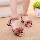 兒童鞋女童涼鞋夏季韓版公主鞋中大童露趾黑色學生演出鞋 ◣怦然心動◥