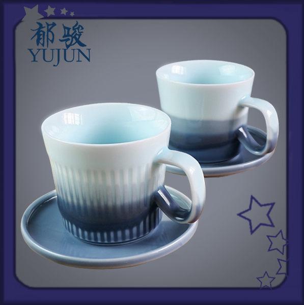 咖啡杯-郁駿純手工陶瓷咖啡杯套裝雙色咖啡杯碟套裝歐式豎紋家用辦公茶杯
