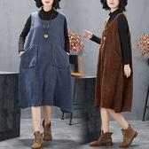 燈心絨雙口袋背心洋裝-大尺碼 獨具衣格 J2385
