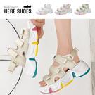 [Here Shoes] 厚底6cm 尼龍布面 彩虹鞋底 魔鬼氈可調運動涼鞋 厚底涼鞋 美式運動涼鞋─KG012