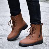 冬季馬丁靴軍靴潮流韓版雪地靴百搭男士皮靴工裝短靴高幫男靴子『潮流世家』