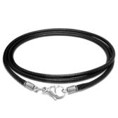 《 QBOX 》FASHION 飾品【QLS-001】精緻優質韓國蠟繩鈦鋼螃蟹扣頭項鍊/防水繩