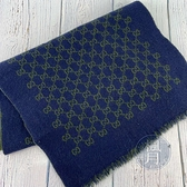 BRAND楓月 GUCCI GG 古馳 綠藍拚色 GG紋LOGO 100%羊毛 圍巾 保暖 配件