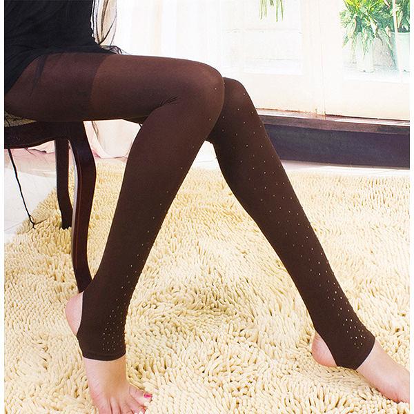 天鵝絨帶鑽條紋踩腳打底襪 鑲鑽絲襪