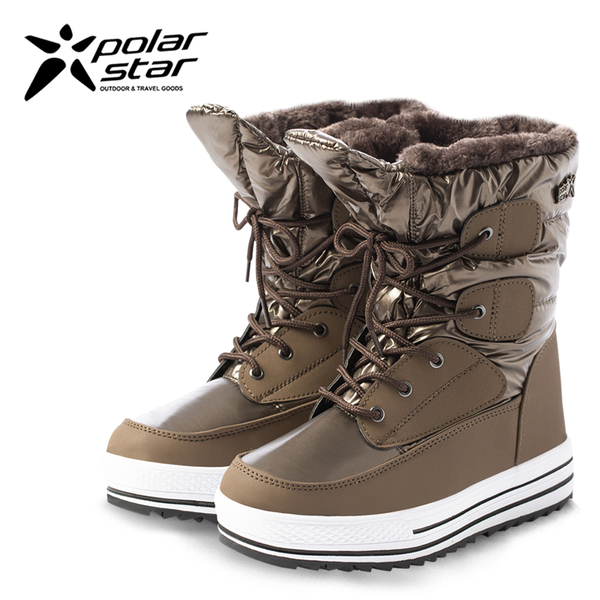 PolarStar 女 防潑水 保暖雪鞋│雪靴『銅金』 P16656 (內厚鋪毛/ 防滑鞋底) 雪地靴.雪地必備.保暖.抗寒