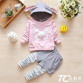 女童秋裝2018新款韓版時尚套裝小童洋氣秋季女寶寶時髦卡通兩件套