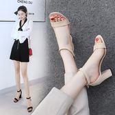大尺碼涼鞋新款粗跟女夏季百搭大碼高跟中跟一字扣帶露趾涼鞋 Ic21『男人範』