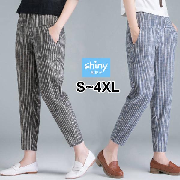 【V3365】shiny藍格子-簡單好感.豎條紋寬鬆顯瘦休閒九分褲
