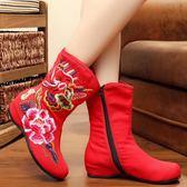 秋冬新款老北京布靴子女中國風棉靴民族風單靴復古繡花鞋短靴 超值價