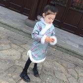 女童旗袍冬兒童加厚公主裙新年款中國風唐裝寶寶加絨拜年服連衣裙全館 萌萌