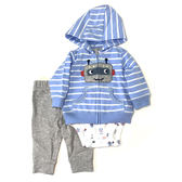 Carter s 長袖套裝 連帽薄外套+短袖包屁衣+長褲三件組藍機器人 男寶寶【CA121I201】