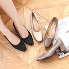 【現貨快速出貨】高跟鞋.MIT韓版迷人素色方頭皮革粗跟包鞋.白鳥麗子