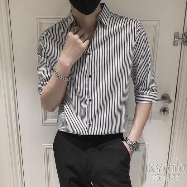 黑色條紋襯衫男潮流痞帥紳士七分袖短袖夏季襯衣外套 快速出貨