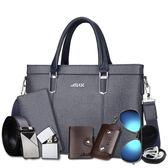 abar男包橫款男士手提包包單肩斜背包商務休閒公文包電腦背包皮包  一米陽光