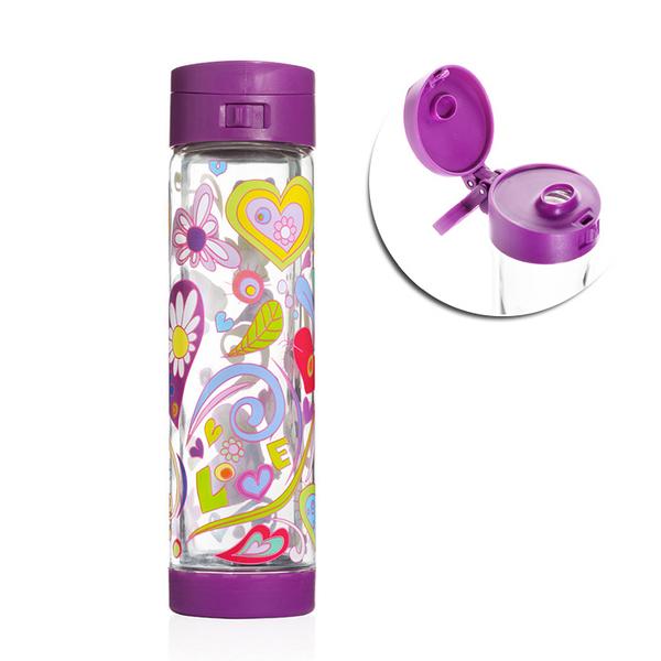 【限量限定款】 Glasstic │ 安全防護玻璃水瓶 彩繪款 470ml (Love 掀蓋紫)