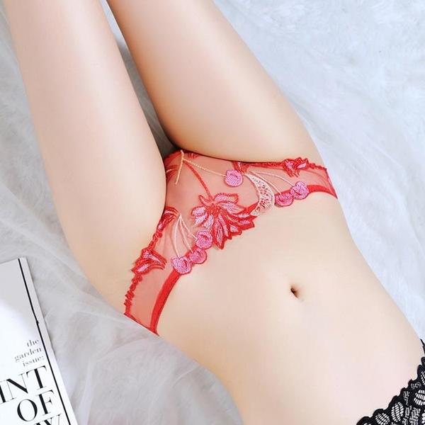 L'amour奢華-Womens Underwear Transparent Panties透明刺繡性感內褲女純棉襠LET_3026