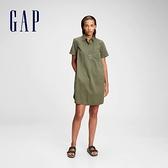 Gap女裝 工裝風半開襟連衣裙 879098-軍綠色