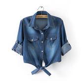 (N-2879)短袖薄款牛仔小坎肩襯衫打結襯衣披肩襯衫