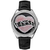 GUESS 刺青客愛之甜點時尚晶鑽腕錶(黑)