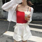 外套  針織衫女長袖秋季冰絲短款百搭薄款防曬開衫外套配吊帶裙的小外披