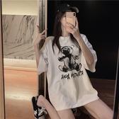 中長款T恤 短袖t恤女2020春夏裝新款韓版中長款寬鬆網紅chic小熊印花上衣潮 中秋降價