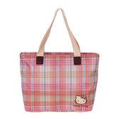 Sanrio HELLO KITTY彩色格紋系列手提肩背袋★funbox生活用品★_RD00143