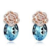 水晶耳環 925純銀耳針式-鑲鑽玫瑰生日情人節禮物女飾品5色73bd165【時尚巴黎】