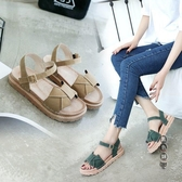 涼鞋女鞋2020年夏季新款厚底學生軟底仙女風百搭時裝平底潮鞋ins OO11245『黑色妹妹』