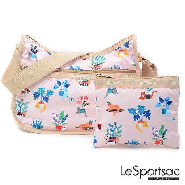 LeSportsac - Standard側背水餃包/流浪包-附化妝包 (悠閒小貓) 7520P F645