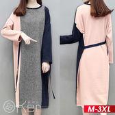 粉嫩配色拼接長袖綁帶洋裝 XL-3XL O-ker歐珂兒 151053