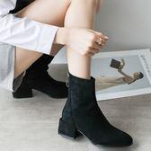短靴 粗跟女正韓百搭方頭后拉鏈英倫馬丁靴中跟瘦瘦靴