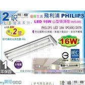 【PHILIPS飛利浦】山型吸頂燈.2呎 雙管 LED 16W 附管.3款色溫選 安全單邊入電#SM168C【燈峰照極】