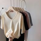 棉麻T恤 白色竹節棉麻短袖t恤女夏寬鬆純色v領大領口香芋紫上衣-Ballet朵朵