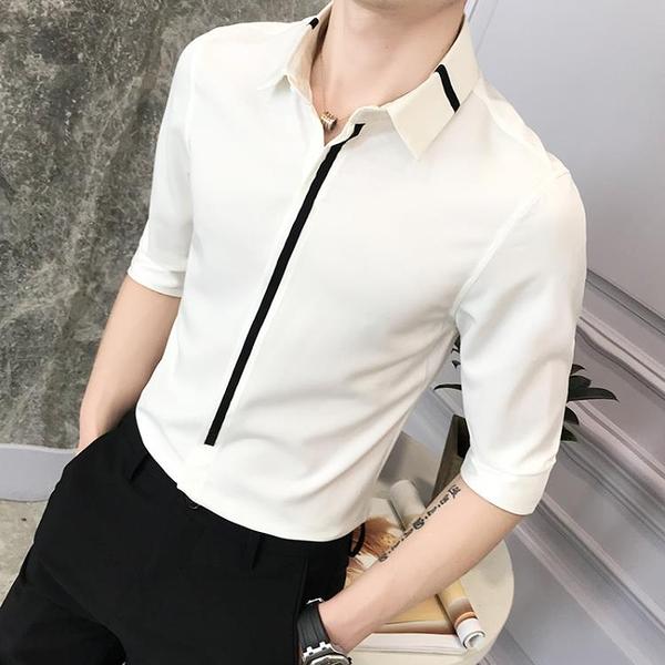 襯衫 男夏季短袖韓版潮流精神小伙潮牌七分袖襯衣發型師修身職業裝  降價兩天